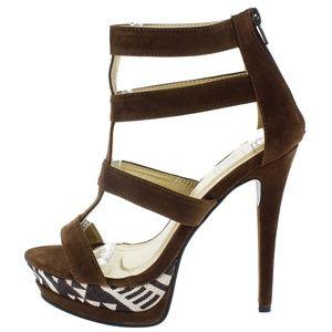 Maker's Sheos Shoes - Chaka Tribal Brown Platform Heels